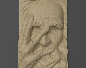 3D printable model Old man face Bas relief for CNC