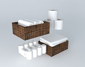 3D model Towels and napkins with baskets