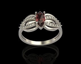 Ring with marquise and diamonds 3D print model