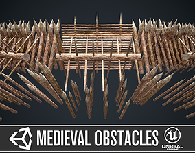 Modular castle wooden obstacles 3D asset