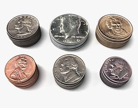 US Coin Set 3D model