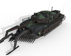 3D asset Tank Abrams MinePlow Extra Defense Woodland USA