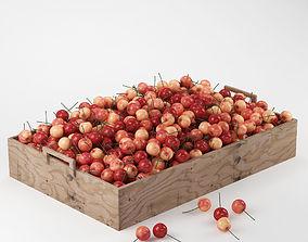 Cherries in a wooden box 3D model
