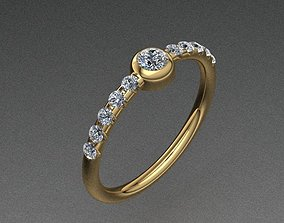 3D print model Tiffany Style Diamond Golden Cute Tiny Ring
