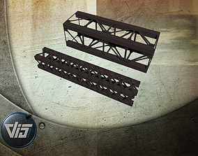 3D model game-ready Beam and truss construction set