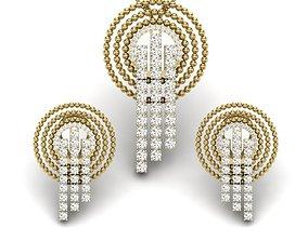 pendants Women pendant-earrings set 3dm render detail