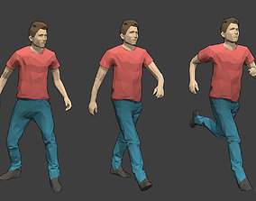 Rigged Lowpoly Male Character - Tim 3D model animated