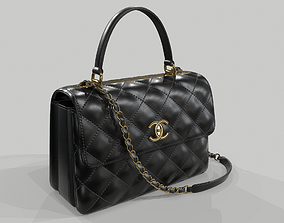 Chanel Small Flap Bag With Top Handle Black 3D