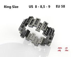 Model 87 Rectangular Facet Pave Diamond Ring Modern US