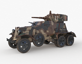 BA 6 Armored Car Camouflage Vray 3D