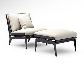 Gabriel Scott Boudoir chair and ottoman 3D model