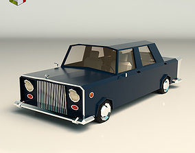 3D asset Low Poly Sedan Car 06