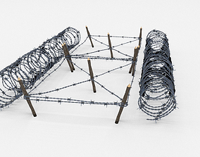 3D model realtime Low Poly Barb Wire Obstacle