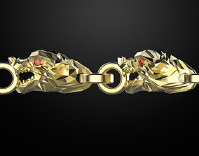 bracelet wolf with stones simplified-form 3D print model