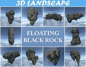 Low poly Floating Island Black Rock Pack 190502 3D asset