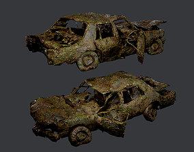 Apocalyptic Damaged Destroyed Vehicle Car Game 3D model 2