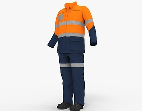 Worker Safety Suit Workman clothes 3D model game-ready