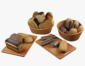 3D asset Bread loaves puffs baguettes buns with chocolate