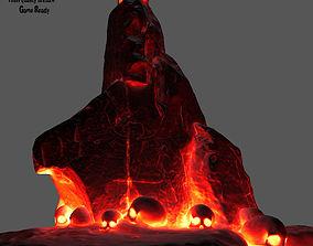 3D model game-ready lava skull stone