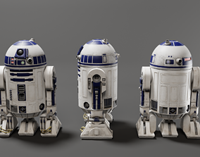 rigged Low poly R2-D2 Model -Rigged and Textured