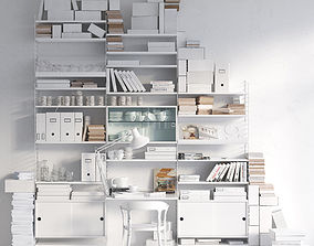 String system bookshelf with workspace 3D