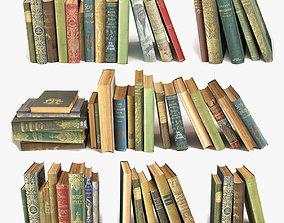 old books on a shelf set 9 3D