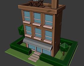 3D model Low poly building 02