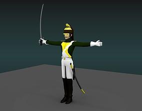 Dragoon heavy cavalery napoleon 3D model rigged