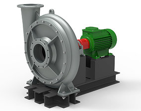 Industrial turbo compressor 3D model