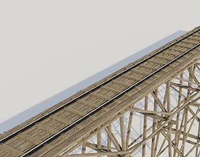Kit wood trestle and railway track 3D asset