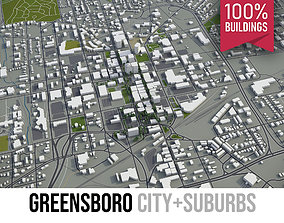 Greensboro - city and surroundings 3D asset
