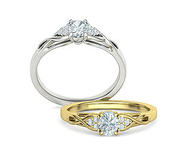 3D print model Engagement Ring 5mm x 4mm Oval Stone 1