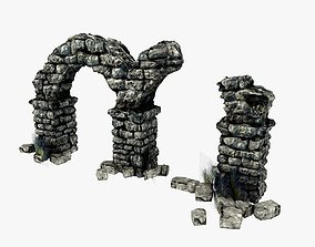 Ancient columns with arch ruins 3D asset