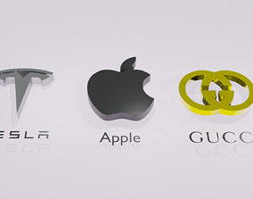 logo Tesla Apple Gucci 3D model