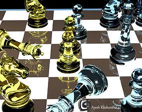 checkerboard 3D model realtime Chess Board