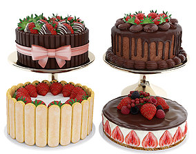 3D chocolate Strawberry cake collection