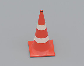 3D asset low-poly Traffic Cone