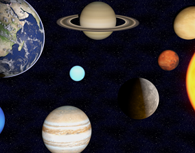 Out of this world Solar System Rigged 3D model