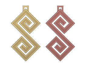 3D print model Double Scroll Greek key patterns pendant