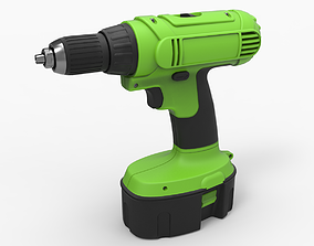Drill machine with battery 3D model