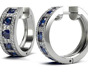 3D print model Round Shape Sapphire Earrings