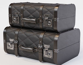 Black Vintage Suitcases luggage 3D model