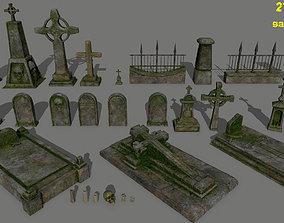 tombstone set 3D asset low-poly skeleton