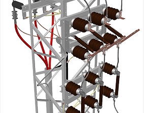Cable Feeded Tower Transformer Station 3D model