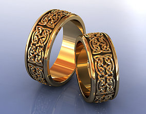 3D print model Nordic Gold Wedding Rings with Celtic Knot