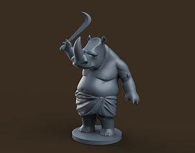 3D print model cartoon Indian Rhino Cartoon