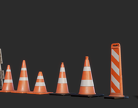 Traffic Cones 3D model Pack low-poly PBR