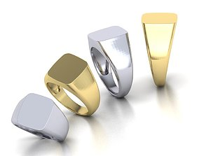 Signet ring collection 4rings PACKAGE 3D print model