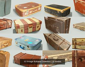 3D model 12 Vintage Suitcase Collection