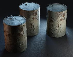 3D asset low-poly Rusty Metal Barrels PBR